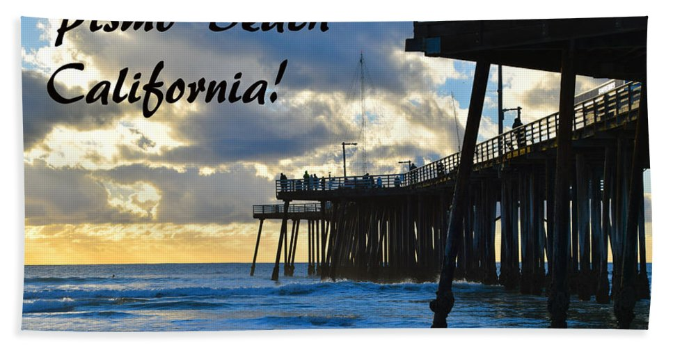 Sunset At Pismo Beach California Hand Towel featuring the painting Sunset At Pismo Beach California by Barbara Snyder
