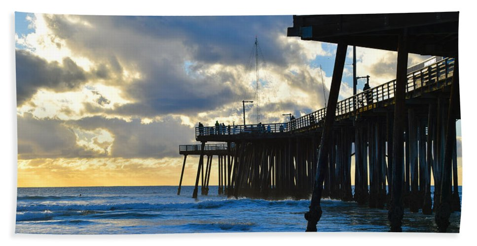 Sunset At Pismo Pier Hand Towel featuring the painting Sunset At Pismo Pier by Barbara Snyder