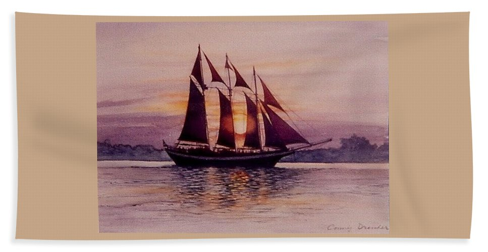 Ship Bath Sheet featuring the mixed media Sunset At Sea by Constance Drescher