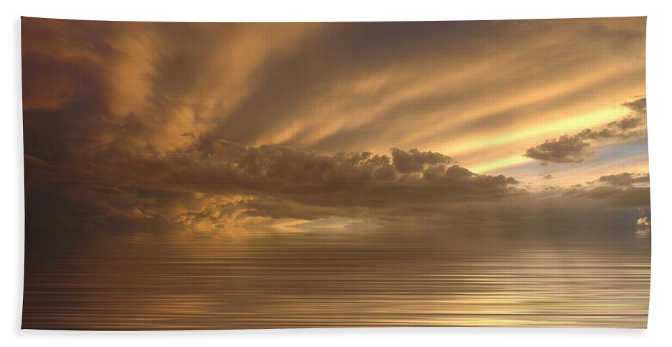 Sunset Bath Towel featuring the photograph Sunset At Sea by Jerry McElroy