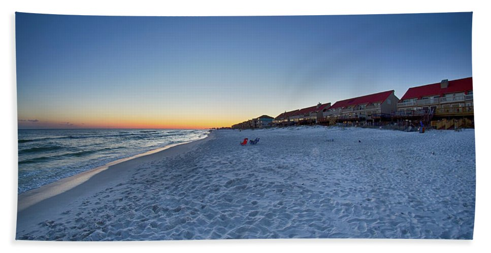 Sky Bath Sheet featuring the photograph Sunset At The Beach In Florida by Alex Grichenko
