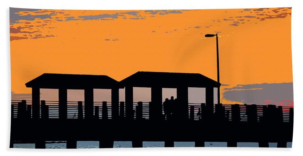 Art Hand Towel featuring the painting Sunset At The Fishing Pier by David Lee Thompson