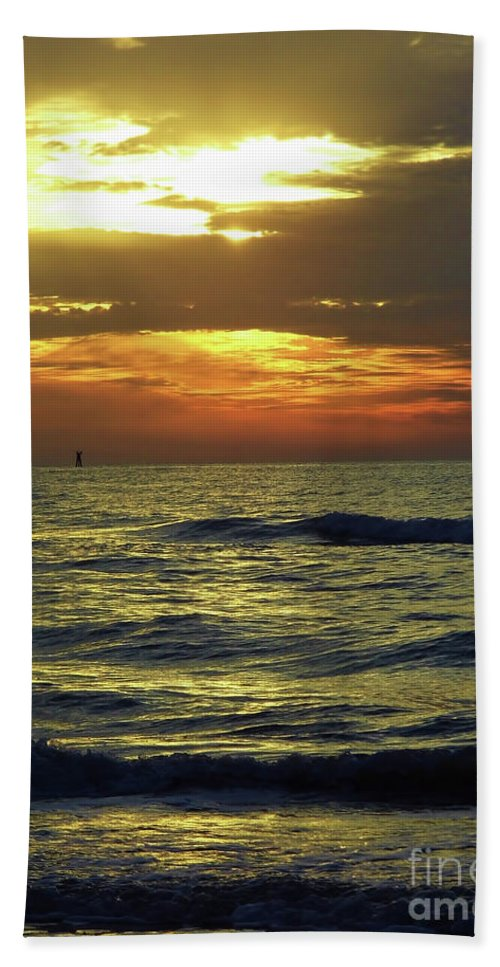 Sunset Bath Sheet featuring the photograph Sunset At The Gulf by D Hackett