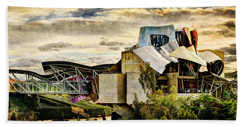 Marques De Riscal Bath Sheet featuring the photograph sunset at the marques de riscal Hotel - frank gehry - vintage version by Weston Westmoreland