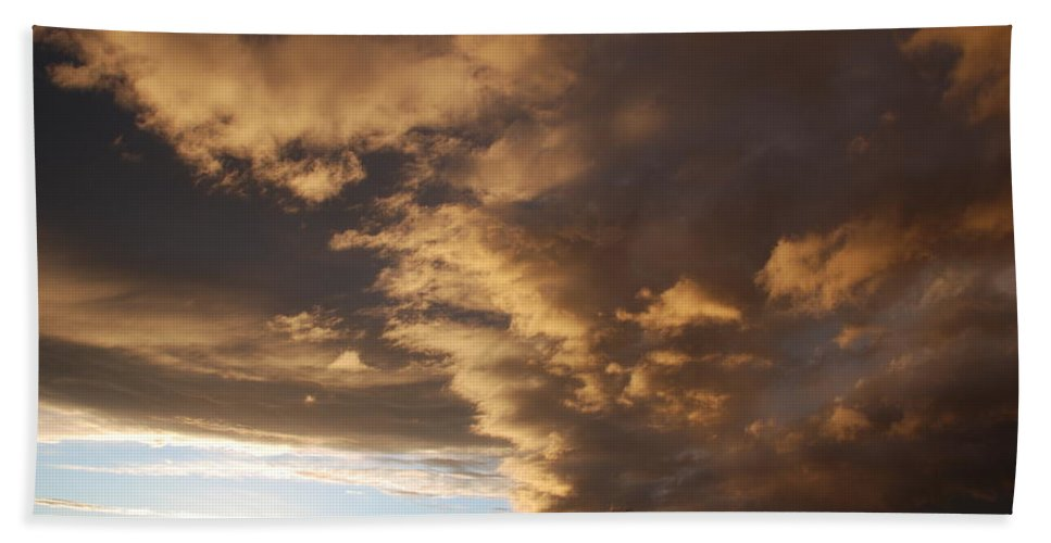 Sunset Hand Towel featuring the photograph Sunset At The New Mexico State Capital by Rob Hans
