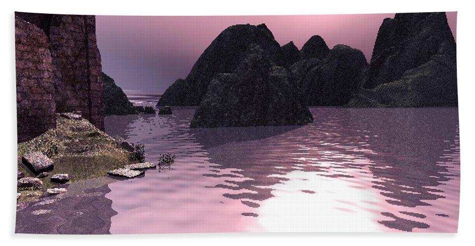 Sunset Hand Towel featuring the digital art Sunset At The Ocean by John Junek