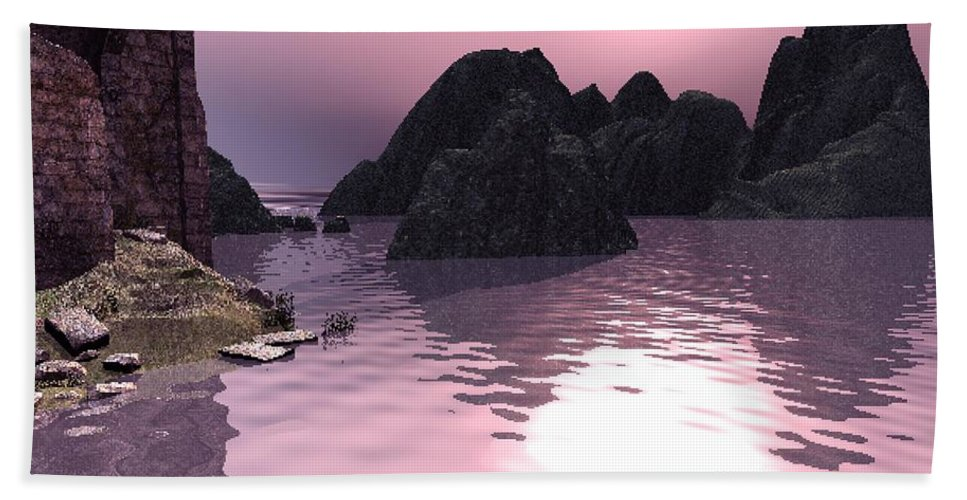Sunset Bath Towel featuring the digital art Sunset At The Ocean by John Junek