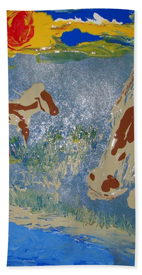 Impressionism Bath Sheet featuring the painting Sunset At The Watering Hole by J R Seymour