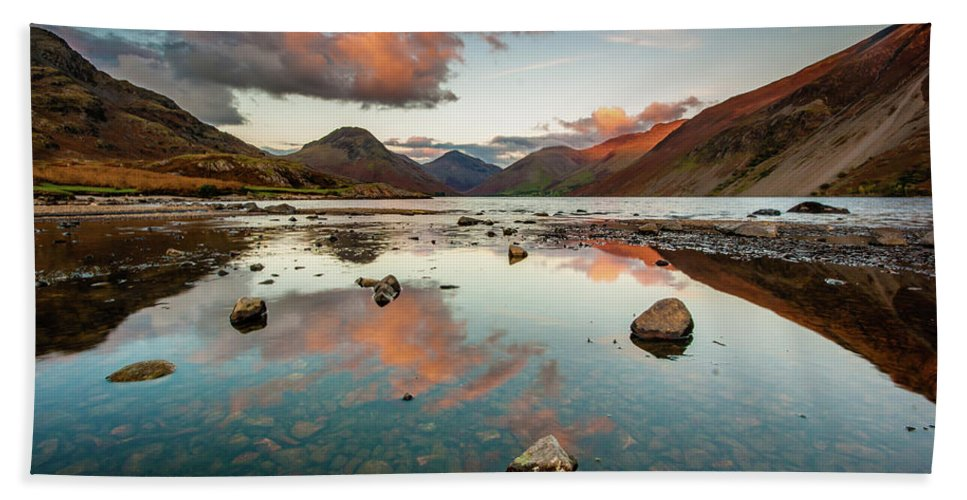 Sunrise Bath Towel featuring the photograph Sunset at Wast Water #1, Wasdale, Lake District, England by Anthony Lawlor