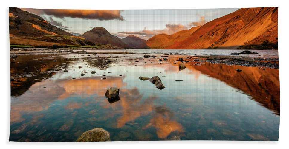 Sunrise Bath Towel featuring the photograph Sunset at Wast Water #2, Wasdale, Lake District, England by Anthony Lawlor