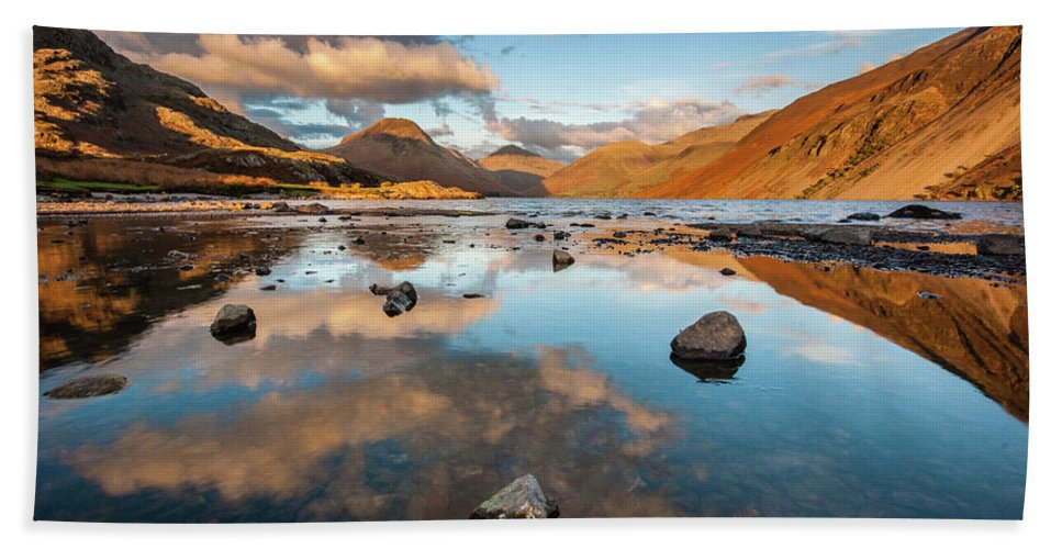 Sunrise Bath Towel featuring the photograph Sunset at Wast Water #3, Wasdale, Lake District, England by Anthony Lawlor