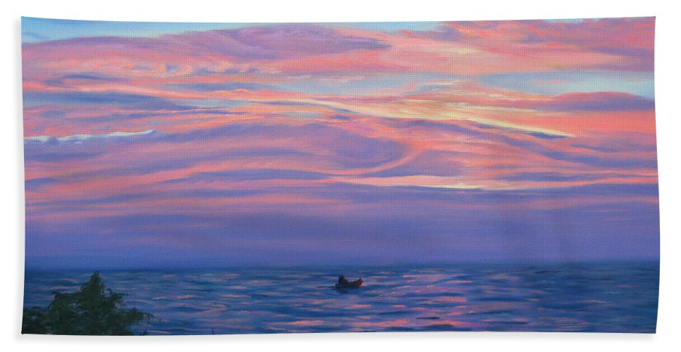 Seascape Bath Sheet featuring the painting Sunset Bay by Lea Novak