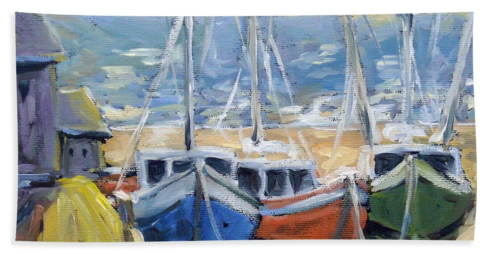 Sea Hand Towel featuring the painting Sunset Bay by Richard T Pranke