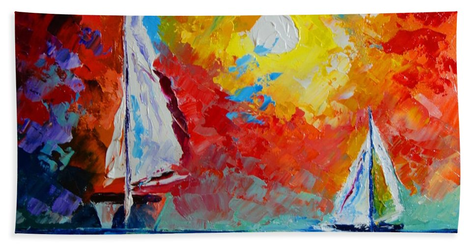 Boats Hand Towel featuring the painting Sunset Bay by Valerie Curtiss