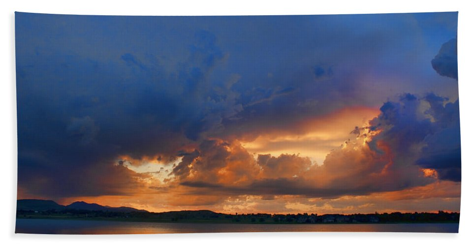 Blues Bath Sheet featuring the photograph Sunset Blues by James BO Insogna