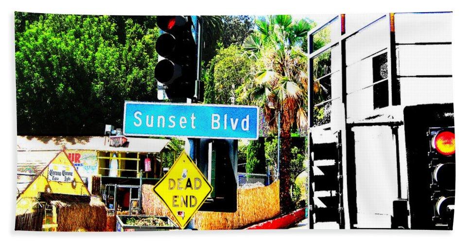 Stoplight On Sunset Blvd Bath Towel featuring the digital art Sunset Blvd by Maria Kobalyan