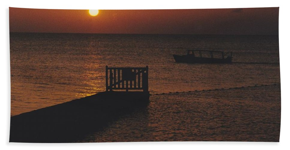 Sunsets Hand Towel featuring the photograph Sunset Boat by Michelle Powell