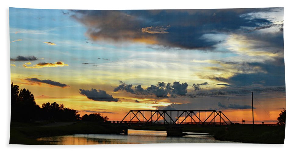 Delray Bath Sheet featuring the photograph Sunset Bridge by Ken Figurski