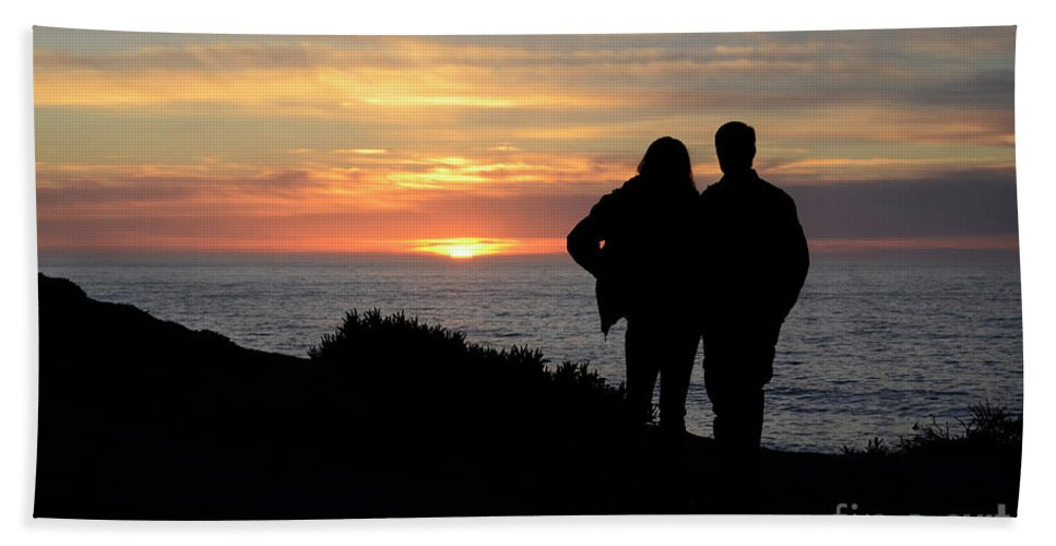 Sunset Hand Towel featuring the photograph Sunset California Coast by Bob Christopher
