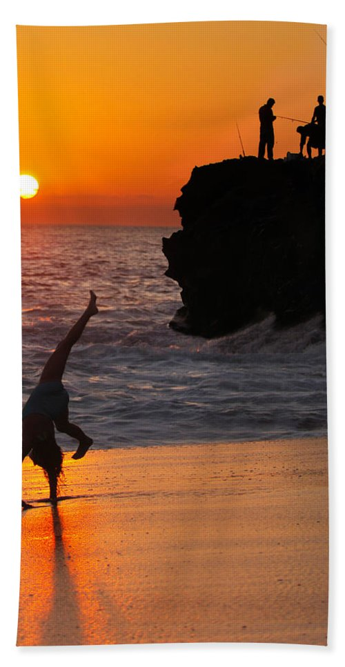 Beach Hand Towel featuring the photograph Sunset Cartwheel by Jill Reger