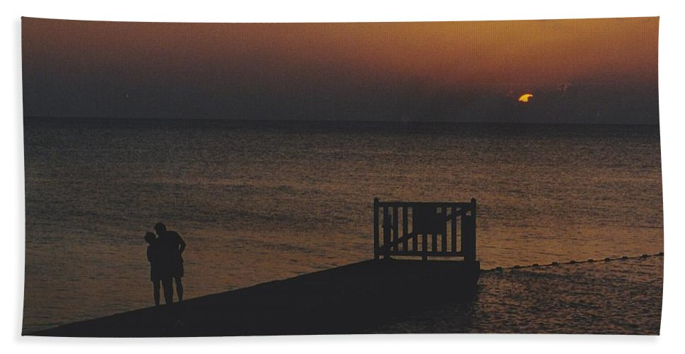 Sunsets Hand Towel featuring the photograph Sunset Couple by Michelle Powell