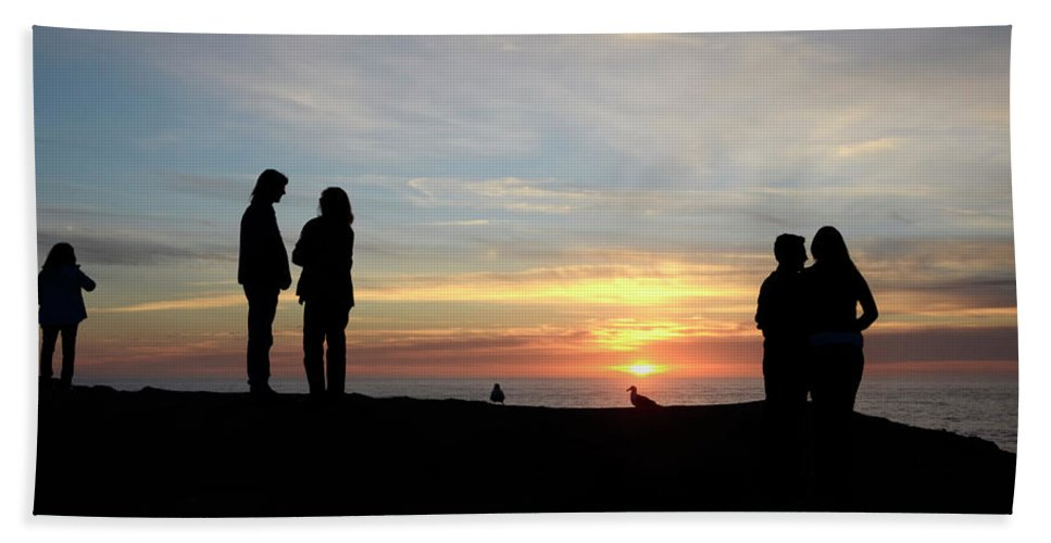 Sunset Bath Sheet featuring the photograph Sunset Couples by Bob Christopher