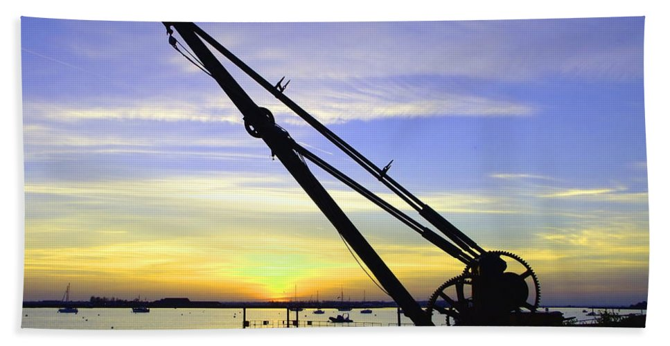 Sunset Bath Sheet featuring the photograph Sunset Crane by Andrew Ford
