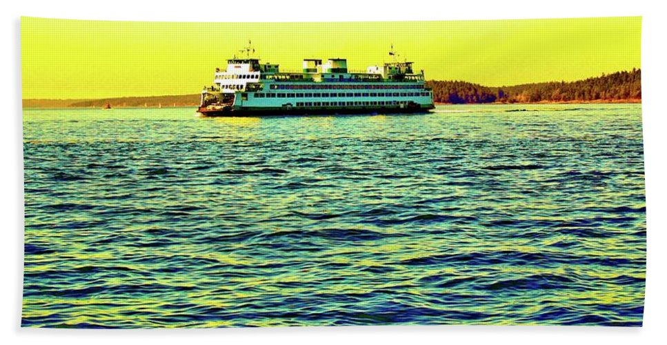 Senset Bath Sheet featuring the photograph Sunset Cruise On The Ferry by Craig Perry-Ollila