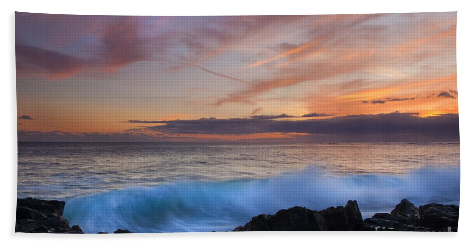 Wave Bath Sheet featuring the photograph Sunset Curl by Mike Dawson