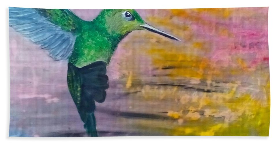Hummingbird Bath Towel featuring the painting Sunset Dancer by J Bauer
