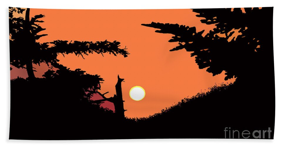 Sunset Hand Towel featuring the painting Sunset by David Lee Thompson