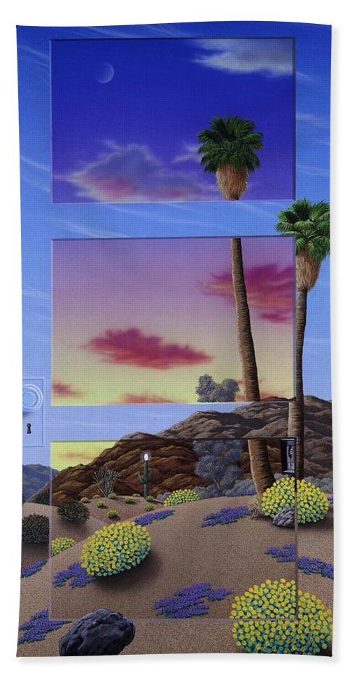 Landscape Bath Sheet featuring the painting Sunset Door by Snake Jagger