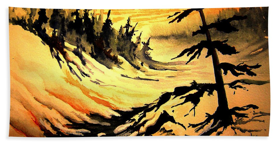 Sunset Extreme Bath Sheet featuring the painting Sunset Extreme by Joanne Smoley