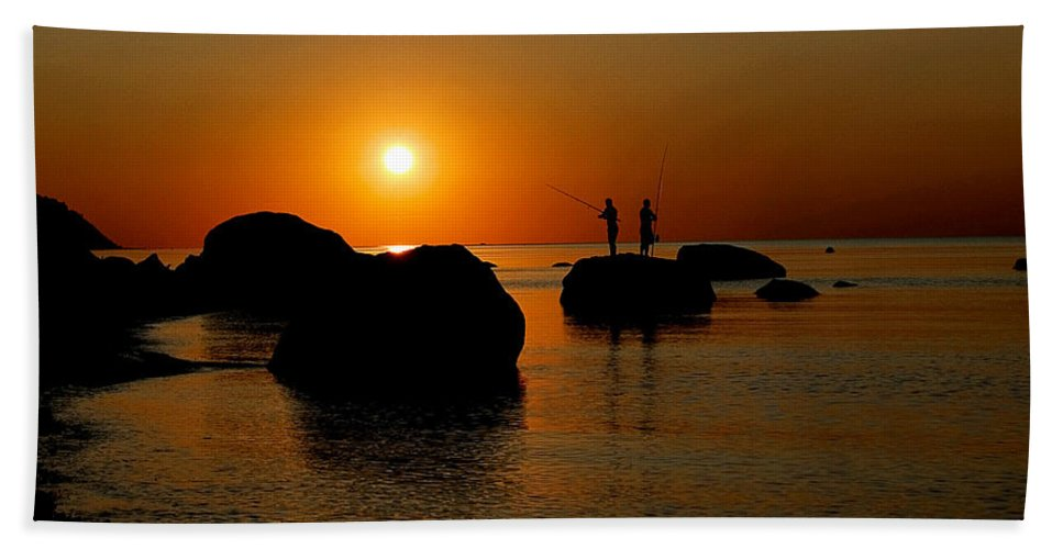 Sunset Hand Towel featuring the photograph Sunset Fishing by Patricia Bolgosano