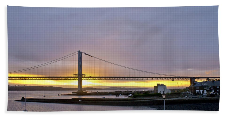 Sunset Hand Towel featuring the photograph Sunset. Forth Road Bridge. by Elena Perelman