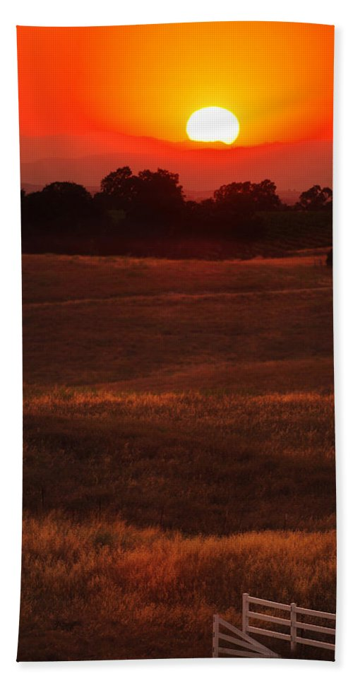 Sunset Bath Sheet featuring the photograph Sunset Gate by Jill Reger