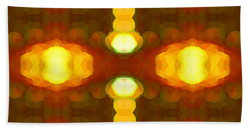 Abstract Painting Bath Sheet featuring the digital art Sunset Glow 1 by Amy Vangsgard