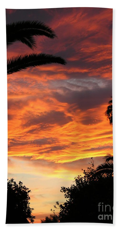 Sunset Hand Towel featuring the photograph Sunset God's Fingers In Clouds by Diane Greco-Lesser