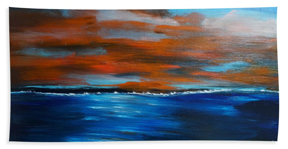Sunset Bath Sheet featuring the painting Sunset II by Jimmy Clark