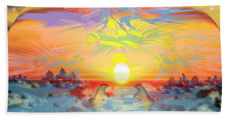 Nature Bath Sheet featuring the digital art Sunset IIi by George Pasini