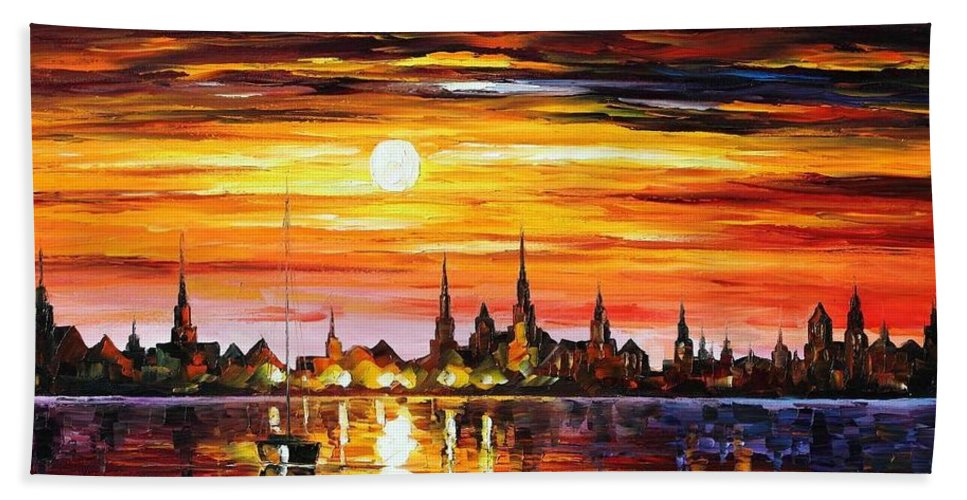 Afremov Bath Sheet featuring the painting Sunset In Barcelona by Leonid Afremov