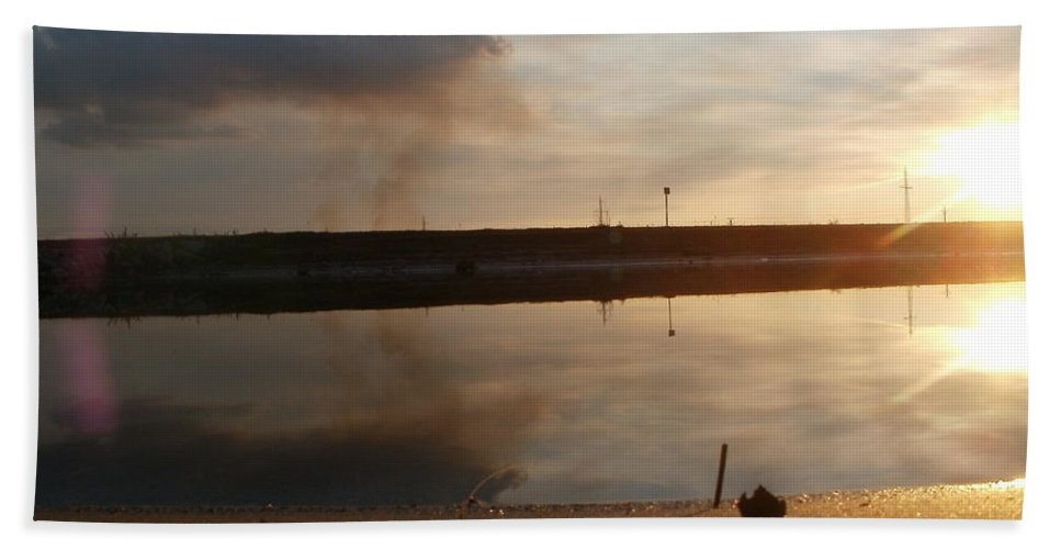 Lanscape Bath Sheet featuring the photograph Sunset In Delta by Constantin Musat