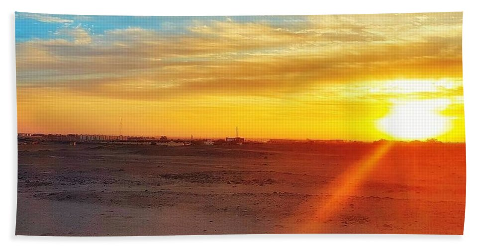 Sunset Hand Towel featuring the photograph Sunset In Egypt by Usman Idrees