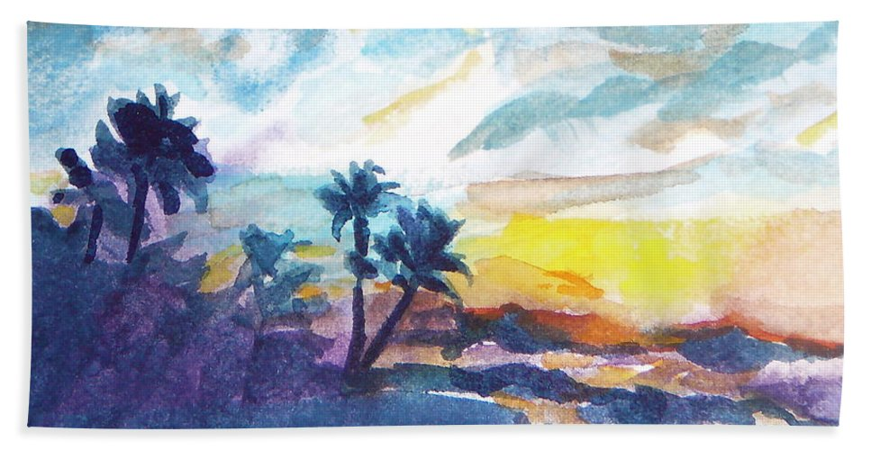 Landscape Bath Sheet featuring the painting Sunset In Hawaii by Jan Bennicoff