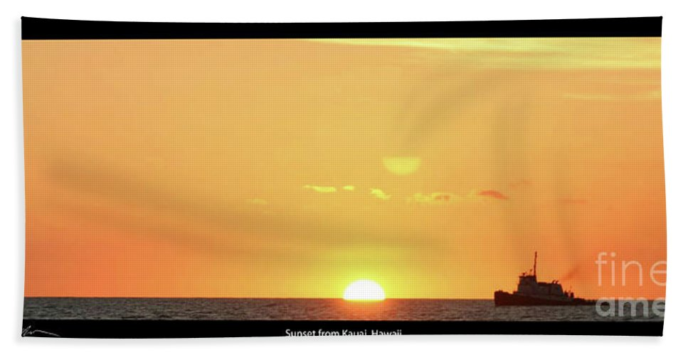 Sunset Bath Sheet featuring the photograph Sunset In Kauai by Tommy Anderson