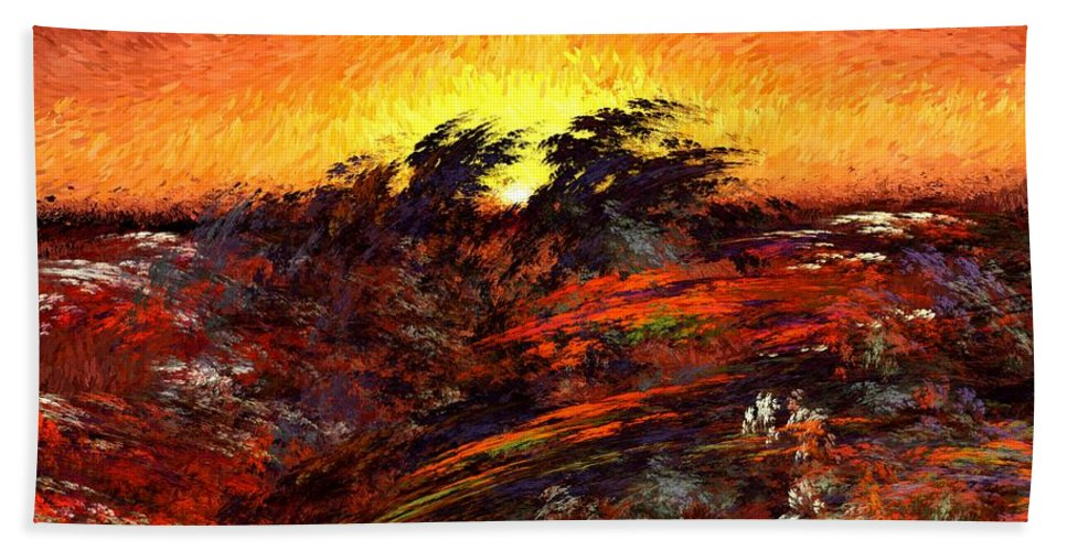 Abstract Digital Painting Bath Sheet featuring the digital art Sunset In Paradise by David Lane