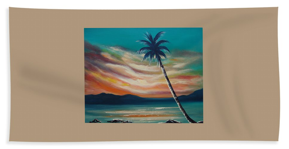 Sunset Hand Towel featuring the painting Sunset In Paradise by Gina De Gorna