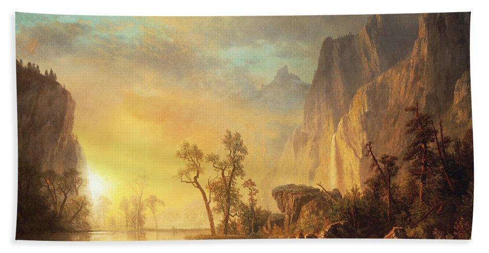 Bierstadt Bath Towel featuring the painting Sunset in the Rockies by Albert Bierstadt