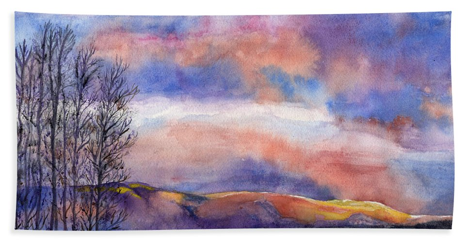 Sunset Hand Towel featuring the painting Sunset In The Rockies by Kathy Sievering