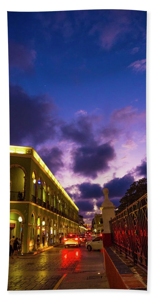 Campeche Bath Sheet featuring the photograph Sunset It Campeche City Downtown by Pablo Aura